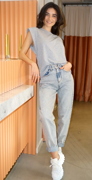 Washed Wide-Cut Jeans